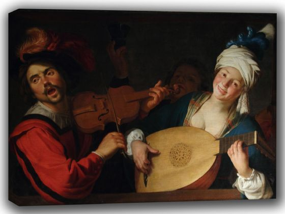 Honthorst, Gerrit van: The Concert. Fine Art Canvas. Sizes: A4/A3/A2/A1 (002170)